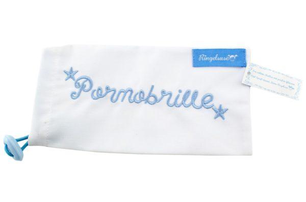 Etui Aufbewahrung Sonnenbrille Stickerei Pornobrille blau weiß