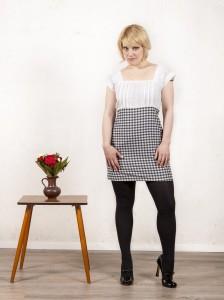 Business Kleid schwarz weiß kariert