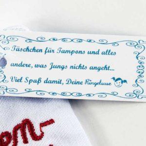 """Tamppontäschchen """"Mädchenmannschaft"""", Detail"""