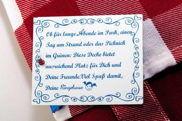 """Rote Picknick-Decke """"Karo"""", Detail"""