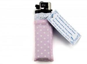Mädchen-Feuerzeug rosa weiß mit Spitze Oktoberfest