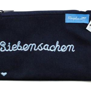 Kosmetiktasche Siebensachen mit Stickerei dunkelblau