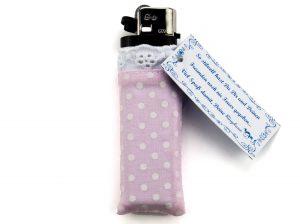 Feuerzeug Ringelsuse rosa mit weißen Pünktchen