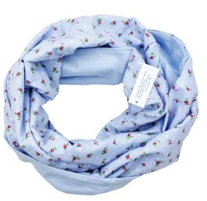 Loop schal hellblau Blümchen Blumen