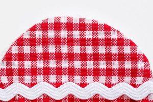 Abschminkpads aus Stoff rot weiß kariert
