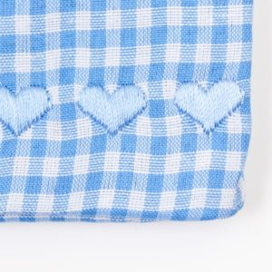 Karo Vichy blau weiß kariert Herzchen