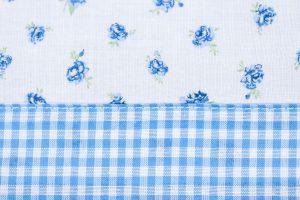 Rosen Röschchen blau kariert Tasche Baumwolle