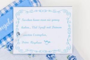 blau weiß Stofftasche Beutel Kinder Mädchen Damen