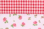 Tasche Blumen Karo Muster Jutebeutel rot weiß