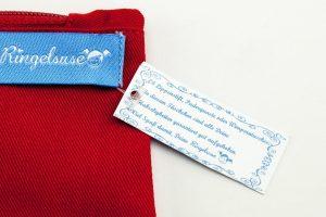 Schminktasche Krambeutel Ringelsuse rot kleines Täschchen Stoff Stickerei
