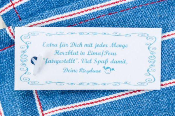 Schönfelder Tasche Beutel blau Streifen Stofftasche Stoffbeutel