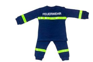 Feuerwehr Kostüm Schlafanzug Pyjama Kinder blau Reflektoren Uniform