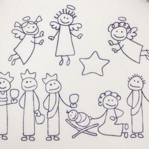 Strampler mein erstes Weihnachten Engel Maria Josef Heilige Drei Könige