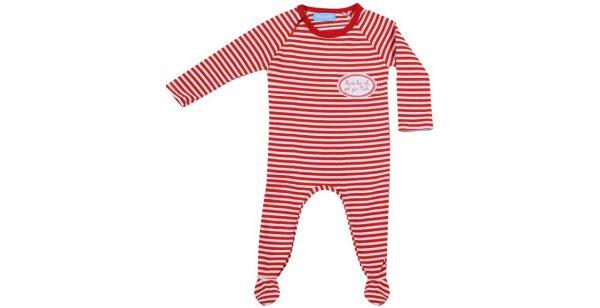 Babyschlafanzug rot weiß gestreift